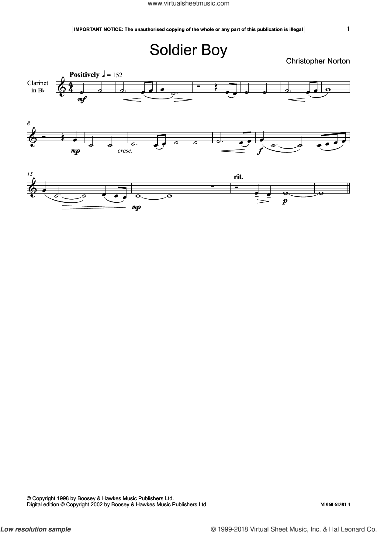 Soldier Boy sheet music for clarinet solo by Christopher Norton, classical score, intermediate skill level