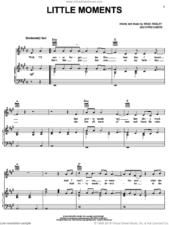 Little Moments sheet music for voice, piano or guitar by Chris DuBois and Brad Paisley