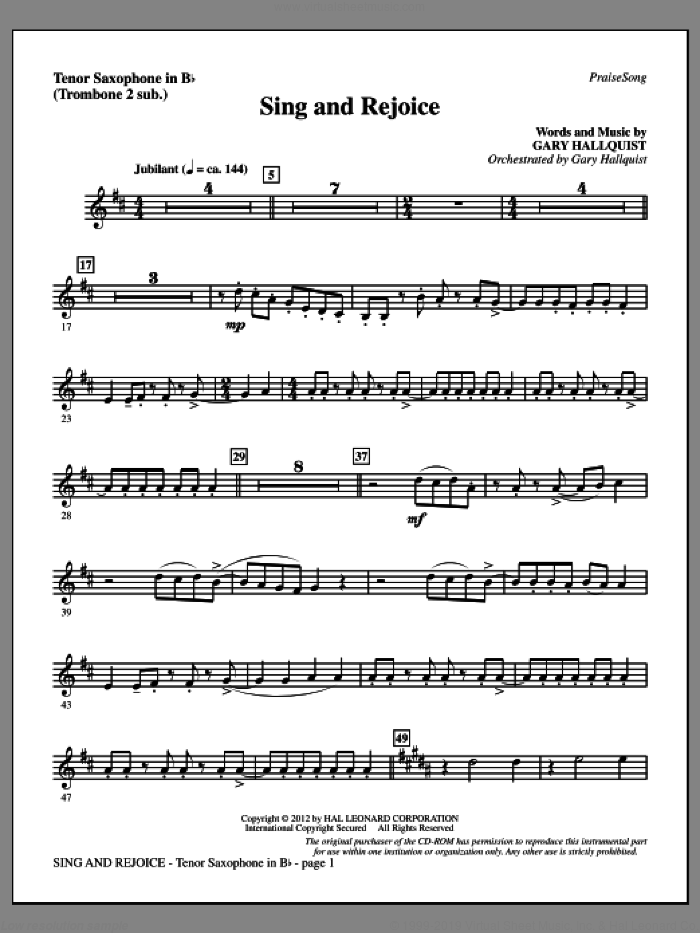 Sing and Rejoice sheet music for orchestra/band (tenor sax, sub. tbn 2) by Gary Hallquist