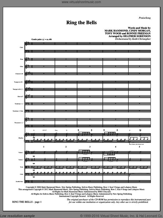 Ring The Bells (COMPLETE) sheet music for orchestra by Tony Wood, Cindy Morgan, Mark Hammond and Heather Sorenson, Christmas carol score, intermediate orchestra. Score Image Preview.