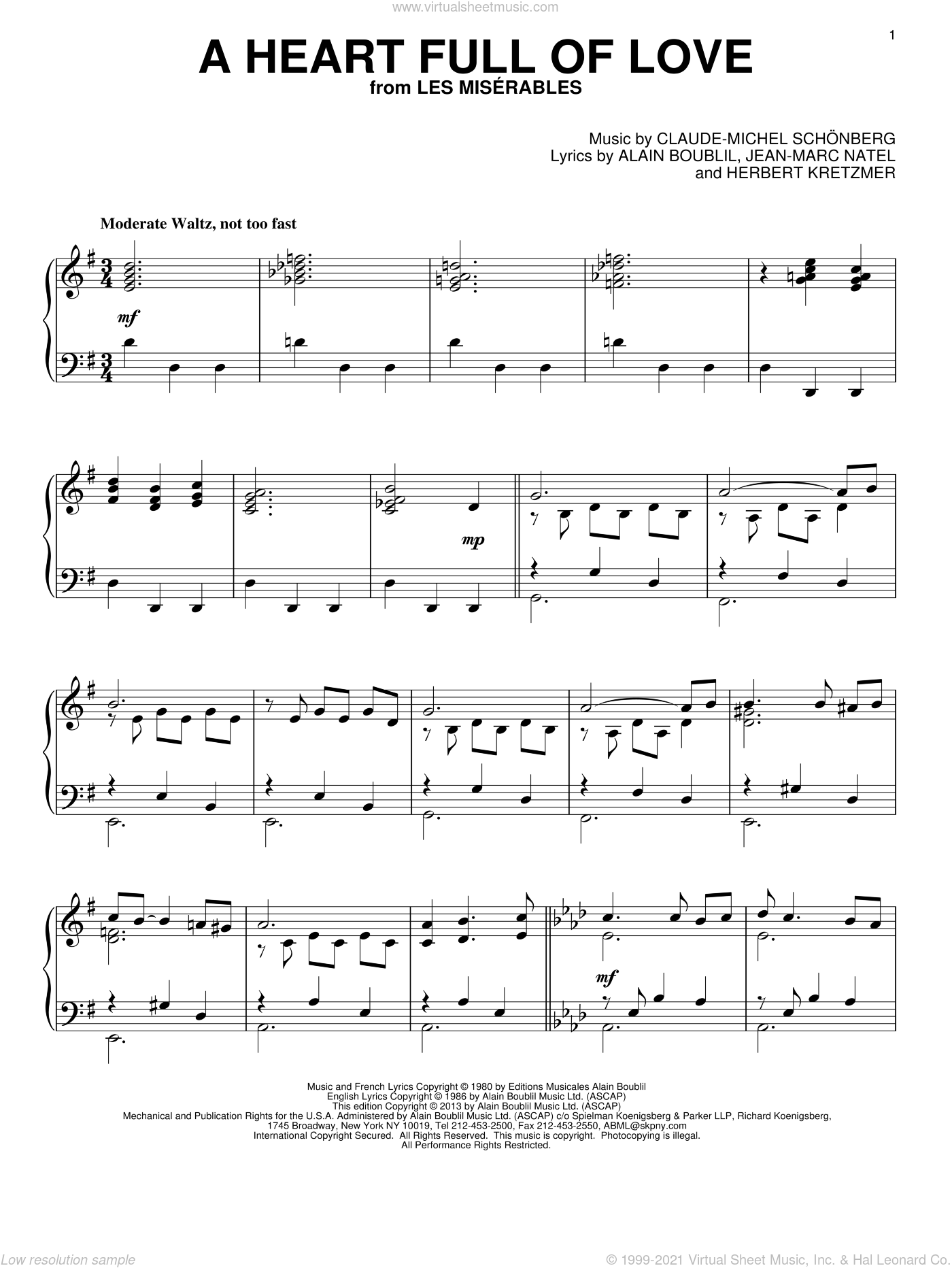 A Heart Full Of Love sheet music for piano solo by Les Miserables (Musical), Alain Boublil and Claude-Michel Schonberg, intermediate