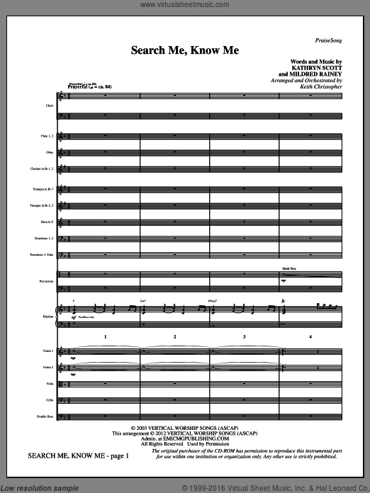 Search Me, Know Me (COMPLETE) sheet music for orchestra by Kathryn Scott and Keith Christopher, intermediate. Score Image Preview.
