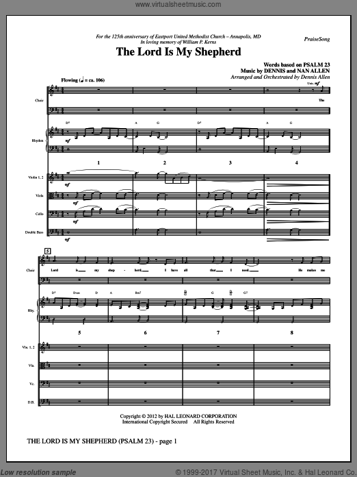 The Lord Is My Shepherd (COMPLETE) sheet music for orchestra by Nan Allen