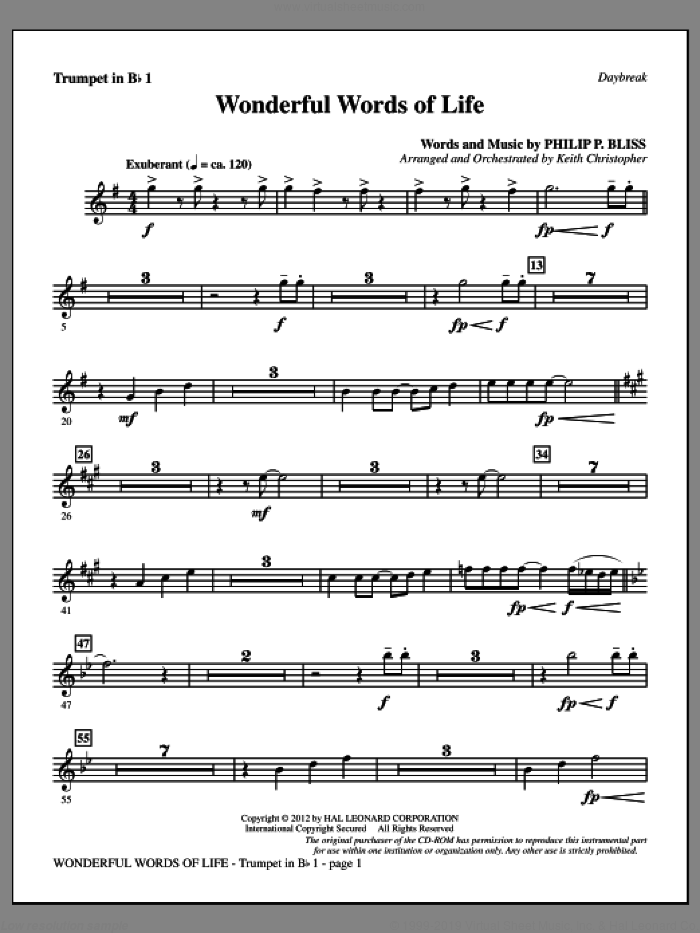 Wonderful Words of Life sheet music for orchestra/band (Bb trumpet 1) by Philip P. Bliss