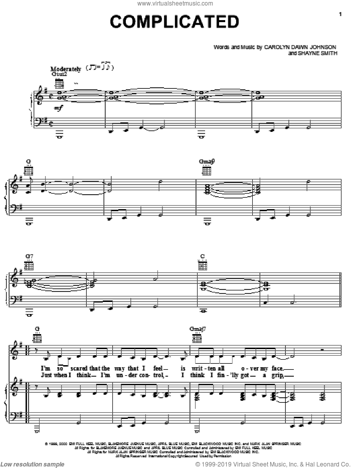 Complicated sheet music for voice, piano or guitar by Carolyn Dawn Johnson. Score Image Preview.