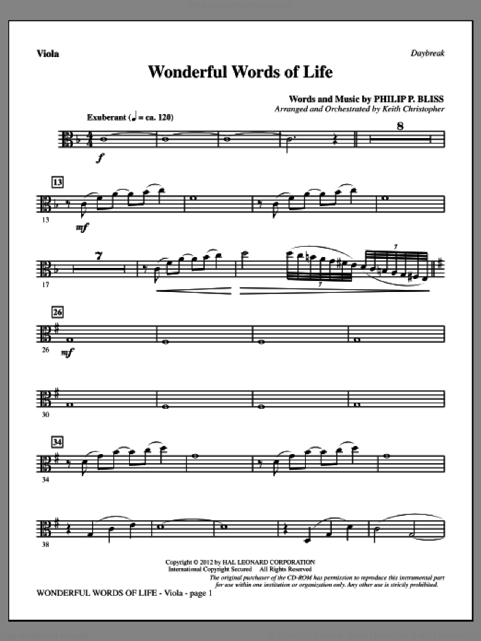 Wonderful Words of Life sheet music for orchestra/band (viola) by Philip P. Bliss