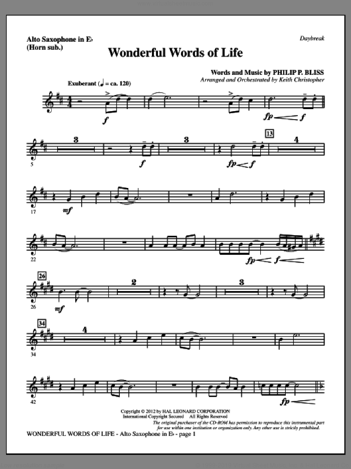 Wonderful Words of Life sheet music for orchestra/band (alto sax, sub. horn) by Philip P. Bliss