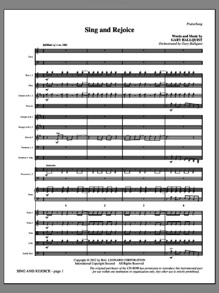 Sing and Rejoice (complete set of parts) sheet music for orchestra/band (Orchestra) by Gary Hallquist, intermediate orchestra. Score Image Preview.