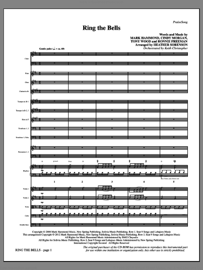Ring the Bells (complete set of parts) sheet music for orchestra/band (Orchestra) by Tony Wood, Cindy Morgan, Mark Hammond and Heather Sorenson, intermediate. Score Image Preview.