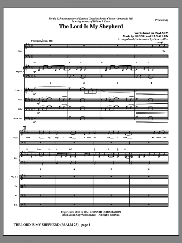 The Lord Is My Shepherd (complete set of parts) sheet music for orchestra/band (Rhythm/Strings) by Dennis Allen, intermediate. Score Image Preview.