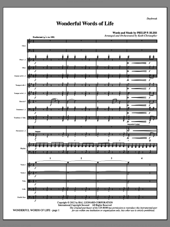 Wonderful Words of Life (complete set of parts) sheet music for orchestra/band (Orchestra) by Philip P. Bliss and Keith Christopher, intermediate skill level
