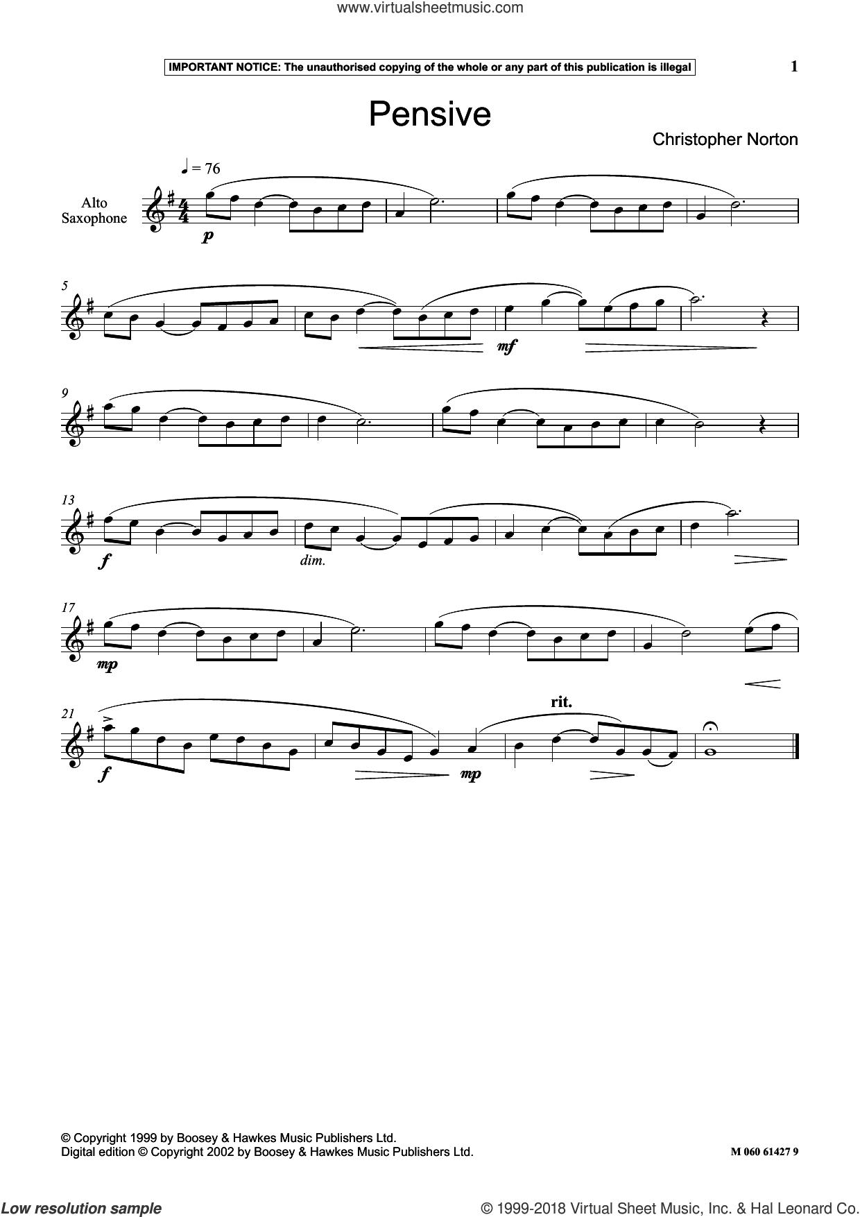 Pensive sheet music for alto saxophone solo by Christopher Norton, classical score, intermediate skill level
