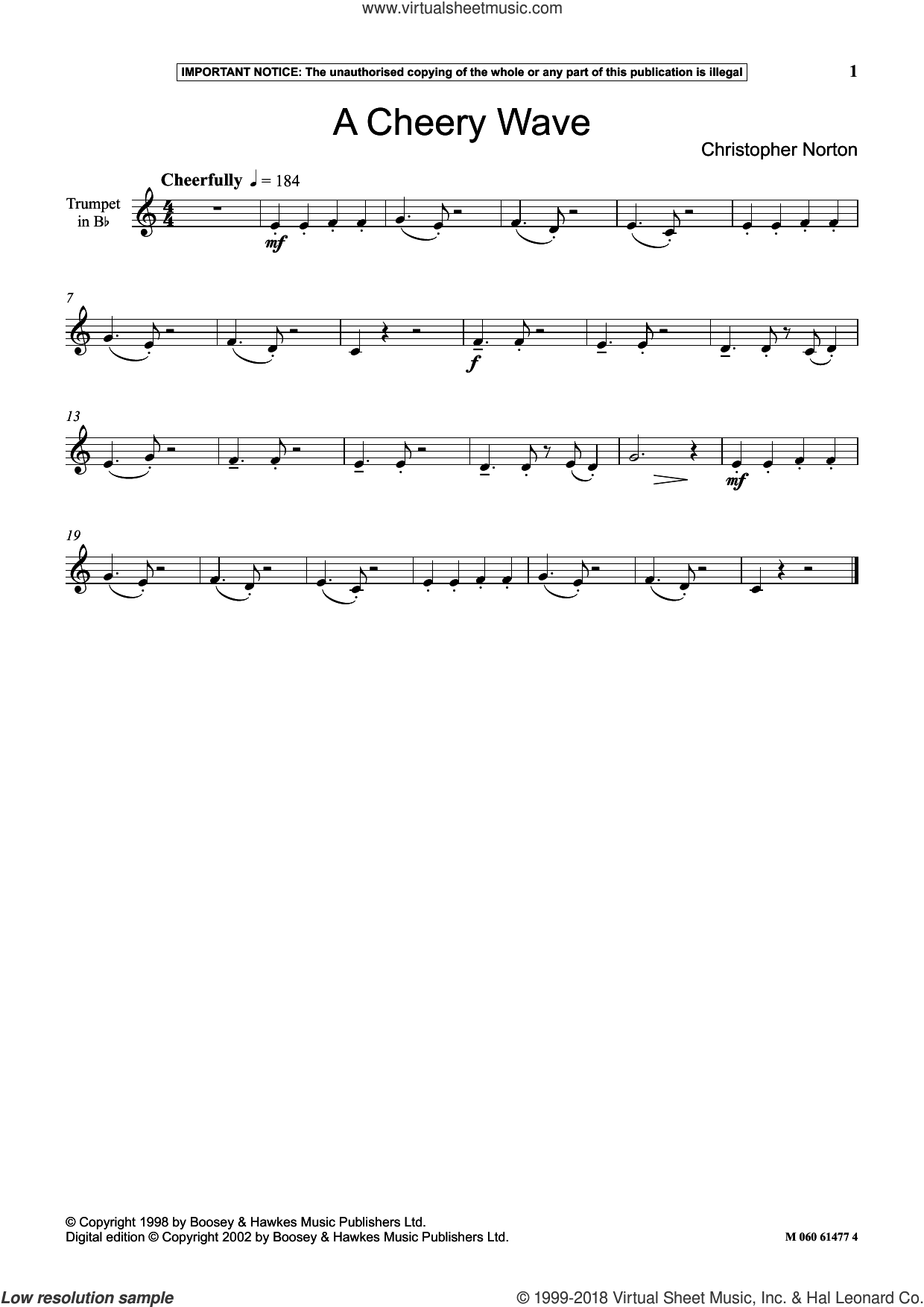 A Cheery Wave sheet music for trumpet solo by Christopher Norton, classical score, intermediate skill level