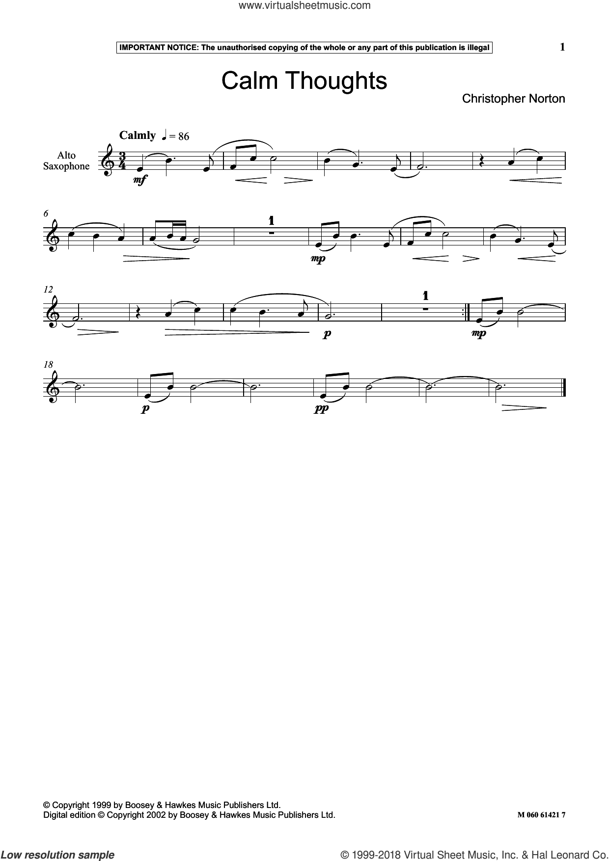 Calm Thoughts sheet music for alto saxophone solo by Christopher Norton, classical score, intermediate skill level