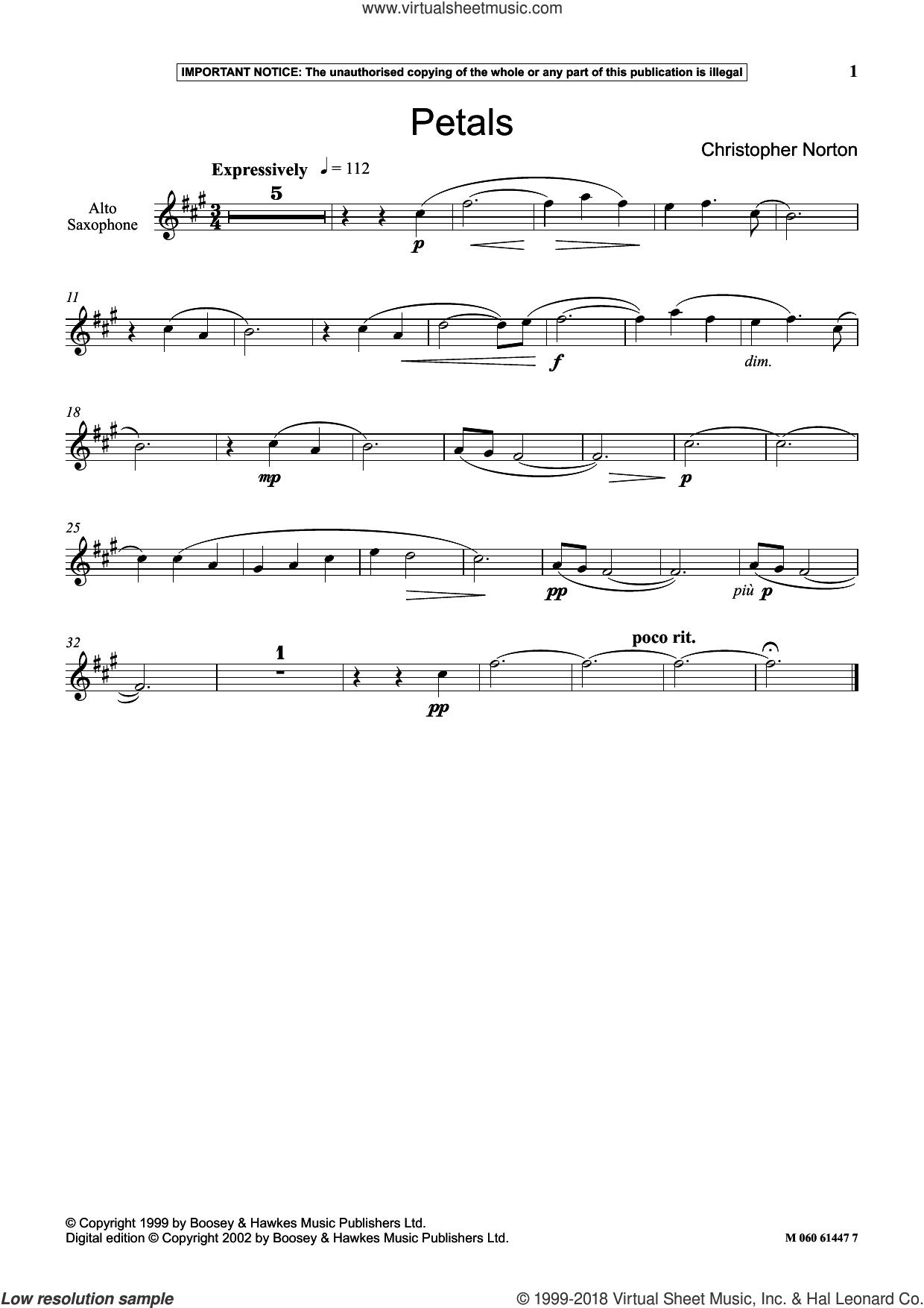 Petals sheet music for alto saxophone solo by Christopher Norton, classical score, intermediate skill level