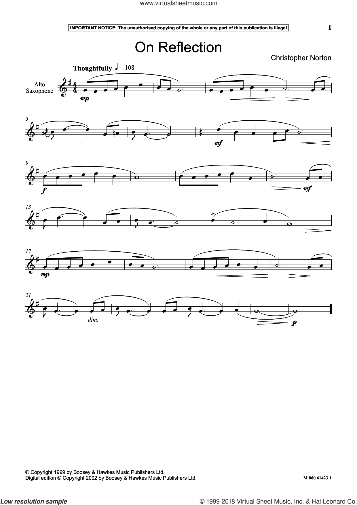 On Reflection sheet music for alto saxophone solo by Christopher Norton, classical score, intermediate skill level