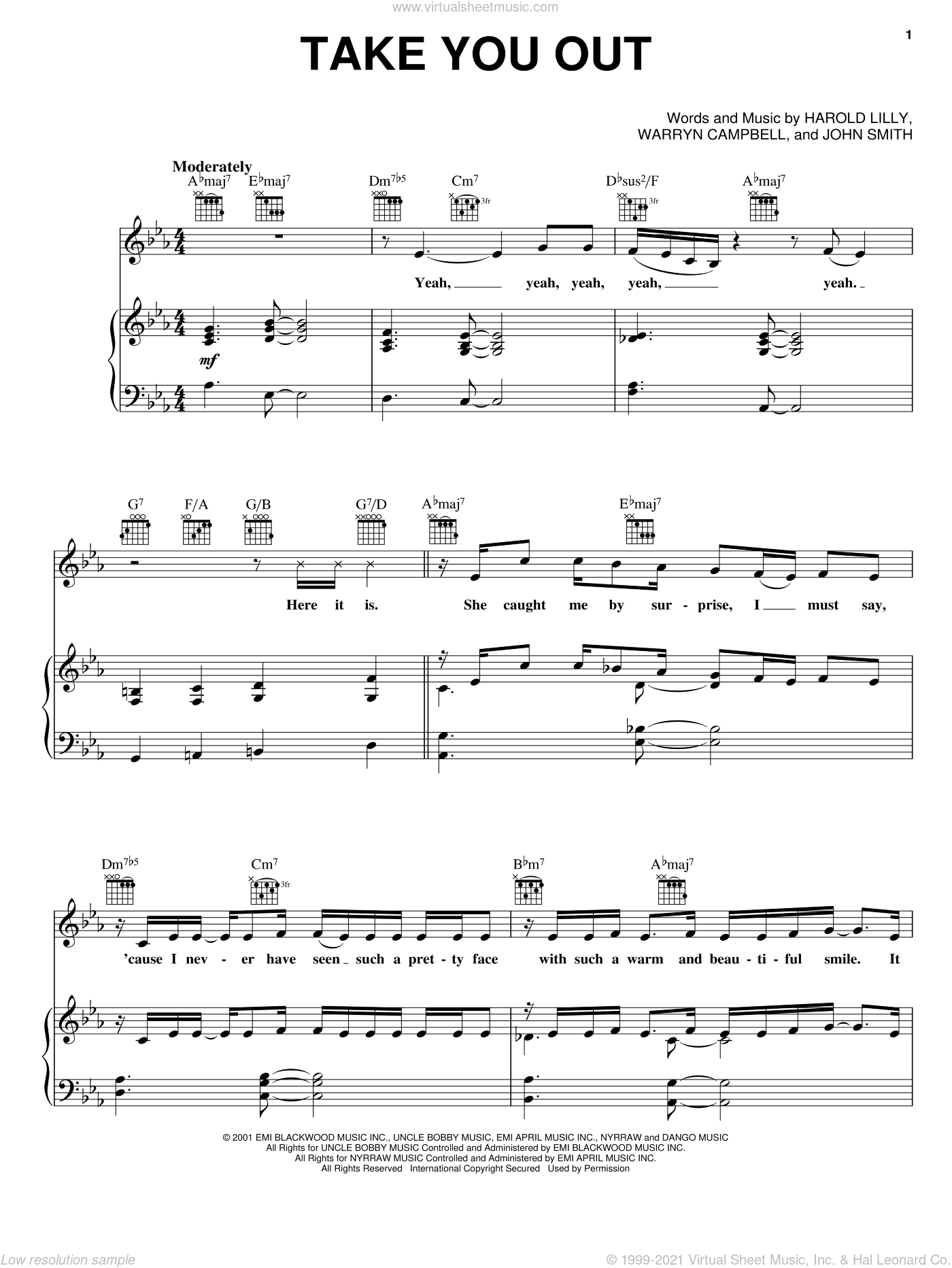 Take You Out sheet music for voice, piano or guitar by Warryn Campbell
