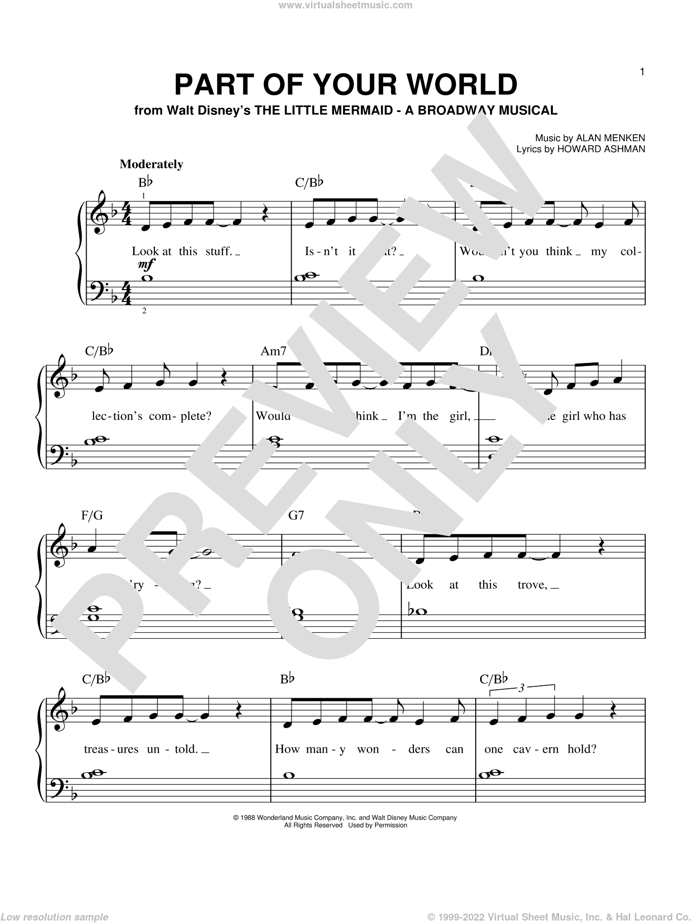 Part Of Your World (from The Little Mermaid) sheet music for piano solo by Alan Menken, The Little Mermaid (Movie) and Howard Ashman, easy skill level