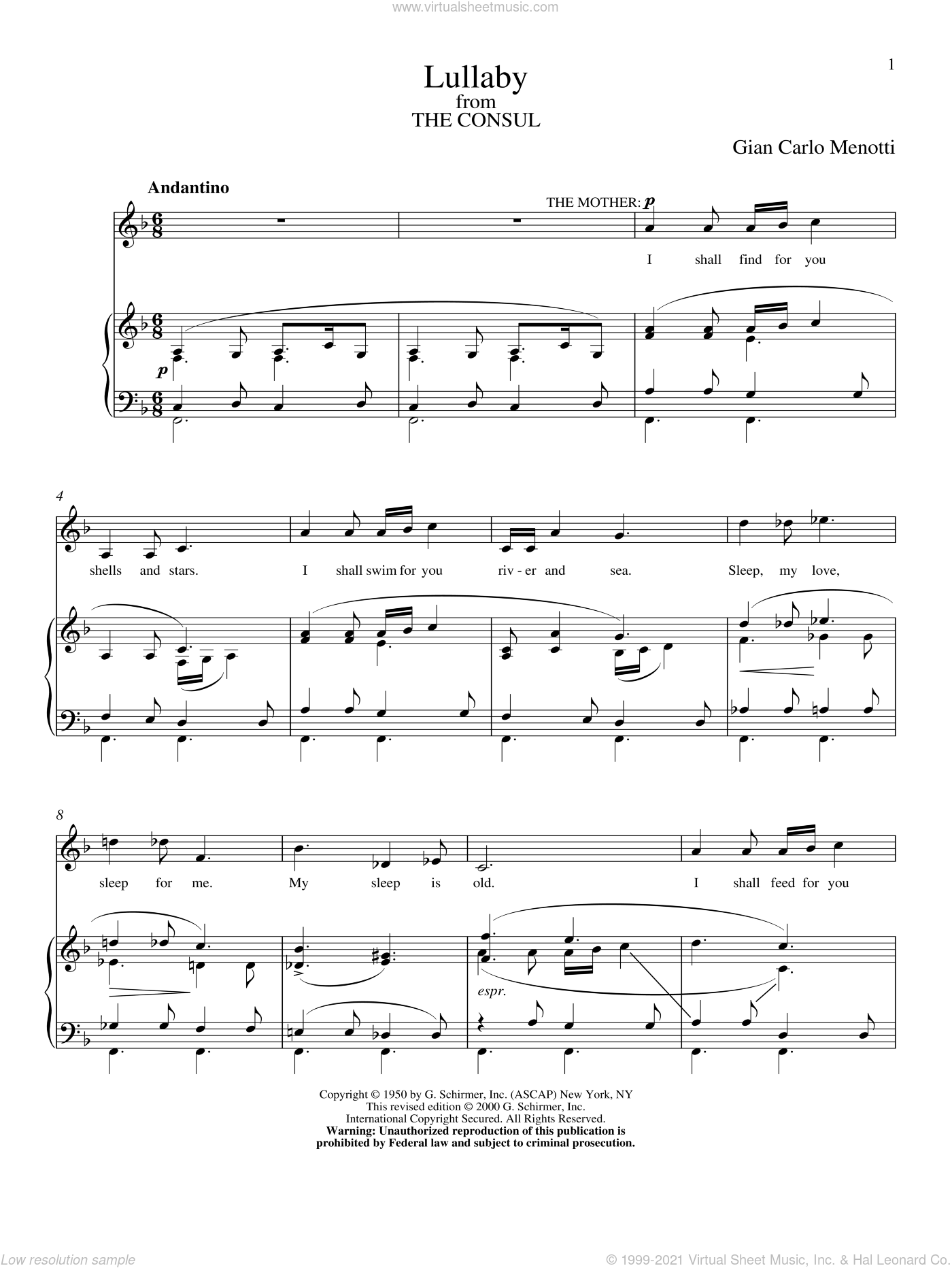 Lullaby sheet music for voice and piano by Gian Carlo Menotti, classical score, intermediate. Score Image Preview.