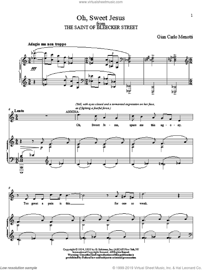 Oh, Sweet Jesus sheet music for voice and piano by Gian Carlo Menotti. Score Image Preview.