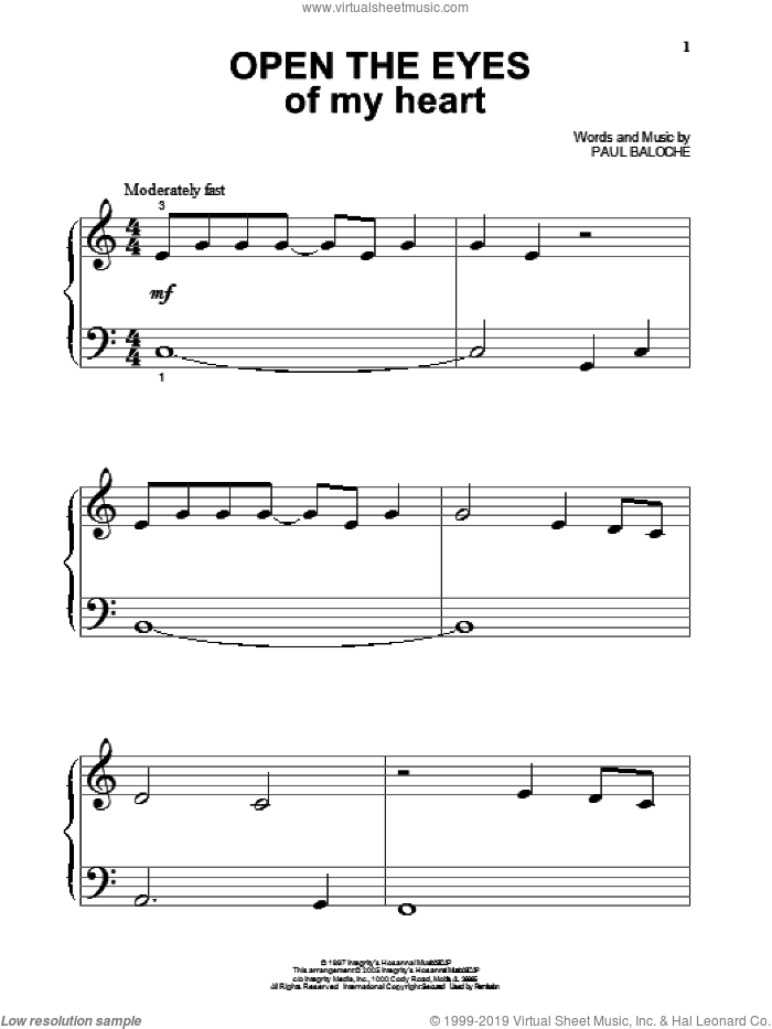 Open The Eyes Of My Heart sheet music for piano solo (big note book) by Paul Baloche and Sonicflood, easy piano (big note book)