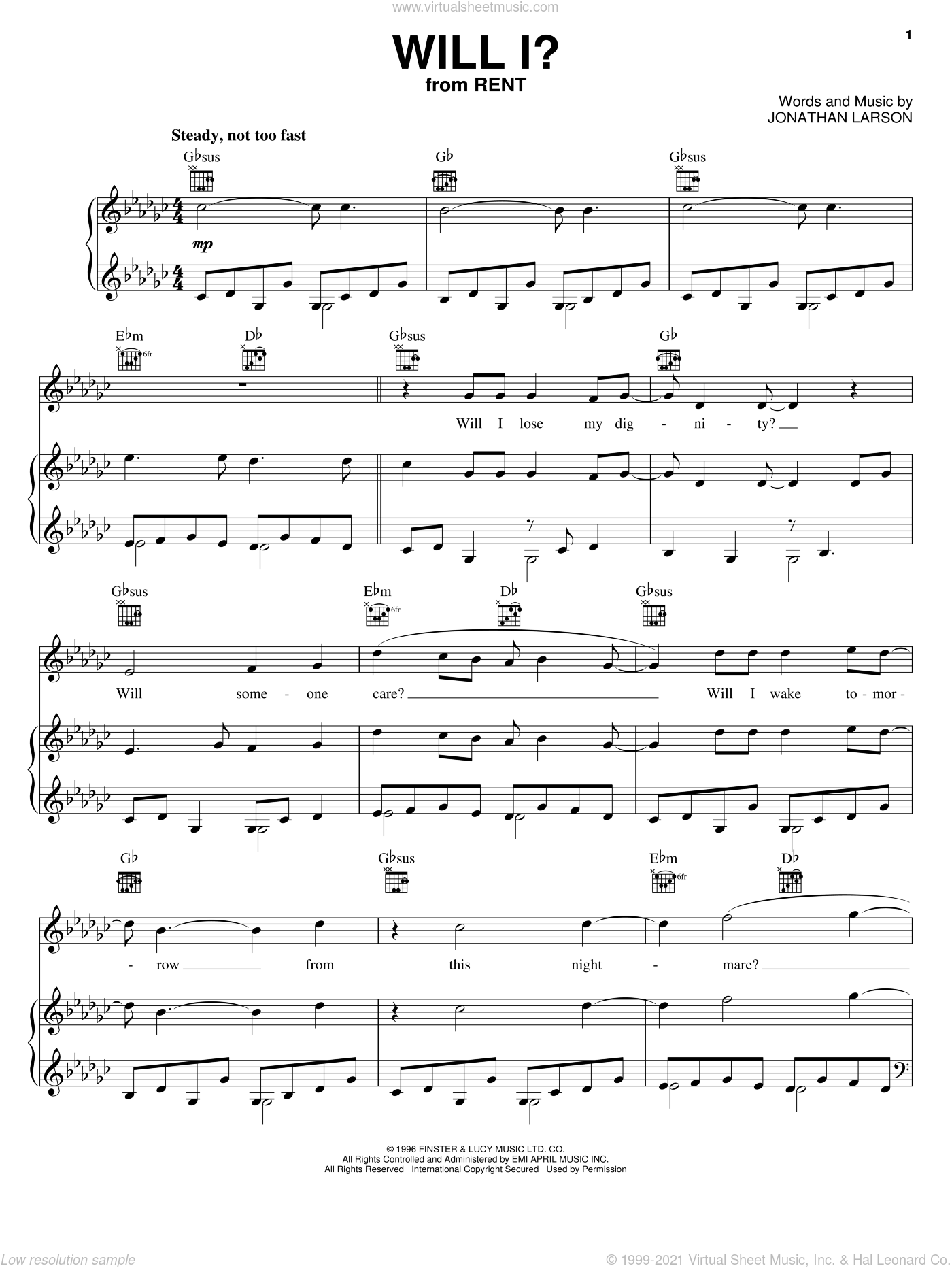 Will I? sheet music for voice, piano or guitar by Jonathan Larson and Rent (Musical), intermediate skill level
