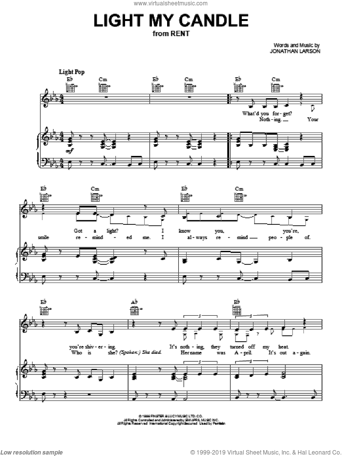 Light My Candle sheet music for voice, piano or guitar by Jonathan Larson and Rent (Musical), intermediate skill level