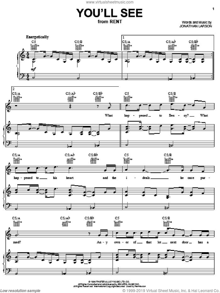 You'll See sheet music for voice, piano or guitar by Jonathan Larson and Rent (Musical), intermediate skill level