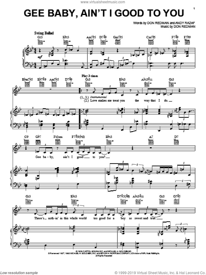 Gee Baby, Ain't I Good To You sheet music for voice, piano or guitar by Diana Krall, Andy Razaf and Don Redman, intermediate skill level