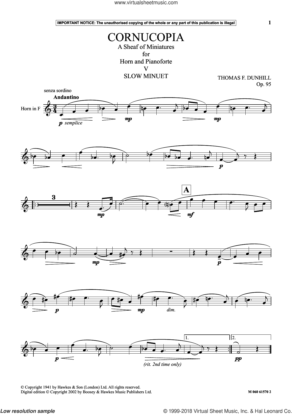 Cornucopia: A Sheaf Of Miniatures For Horn And Pianoforte (V) sheet music for horn solo by Thomas F. Dunhill, classical score, intermediate skill level