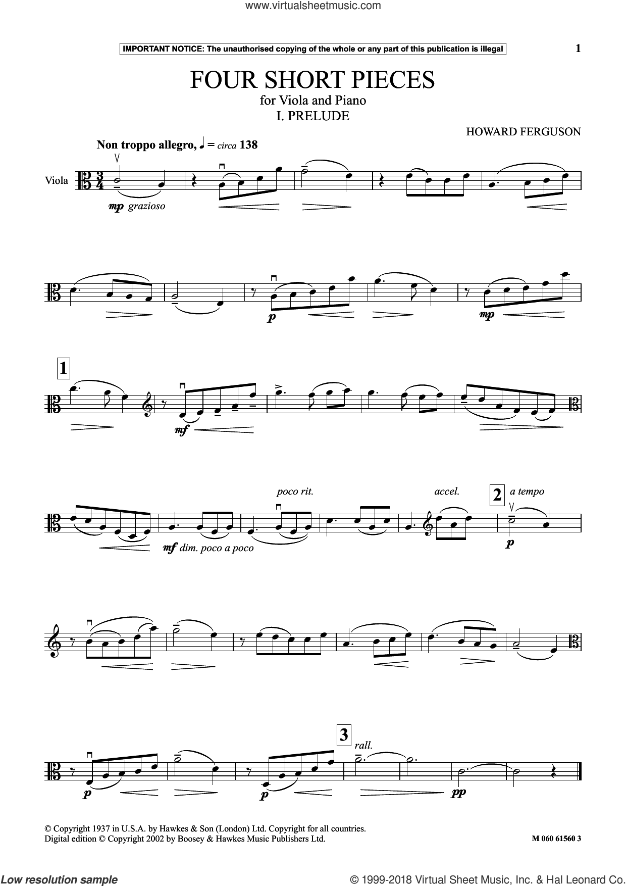 I. Prelude (from Four Short Pieces For Viola And Piano) sheet music for viola solo by Howard Ferguson, classical score, intermediate skill level