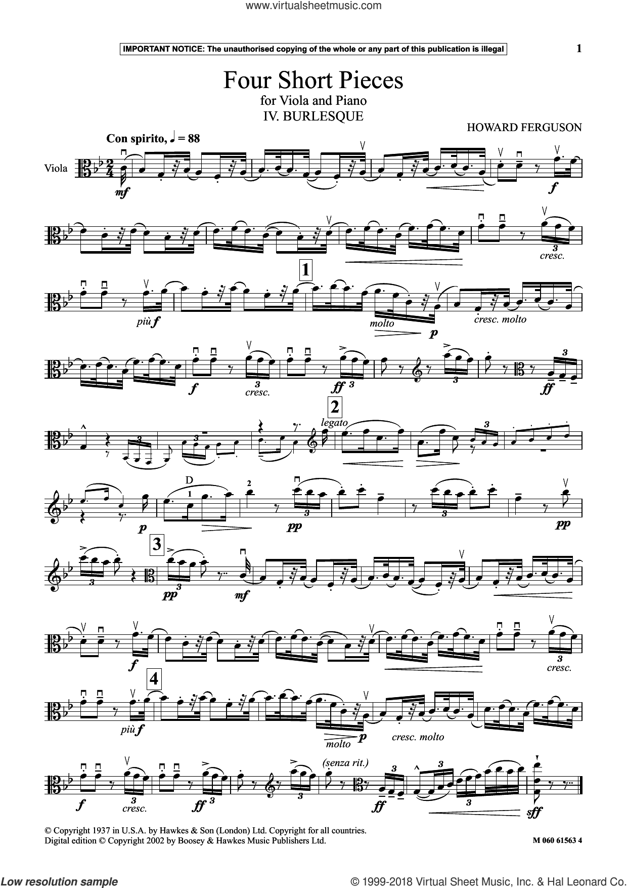 IV. Burlesque (from Four Short Pieces For Viola And Piano) sheet music for viola solo by Howard Ferguson, classical score, intermediate skill level
