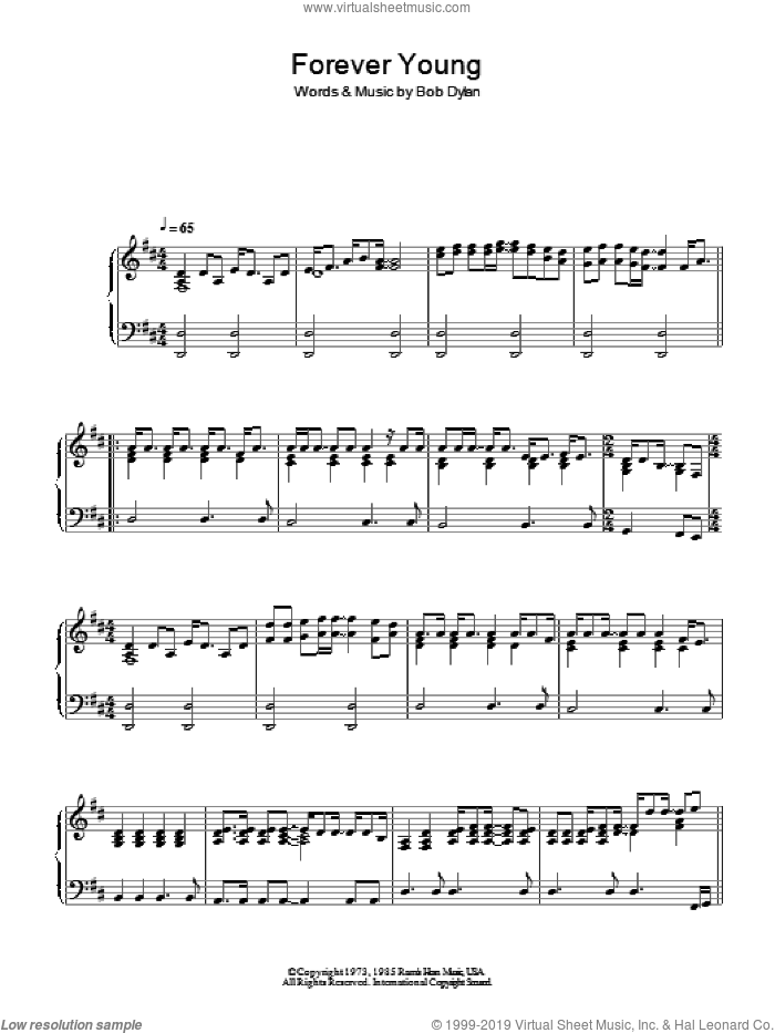 Forever Young sheet music for piano solo by Bob Dylan, intermediate skill level