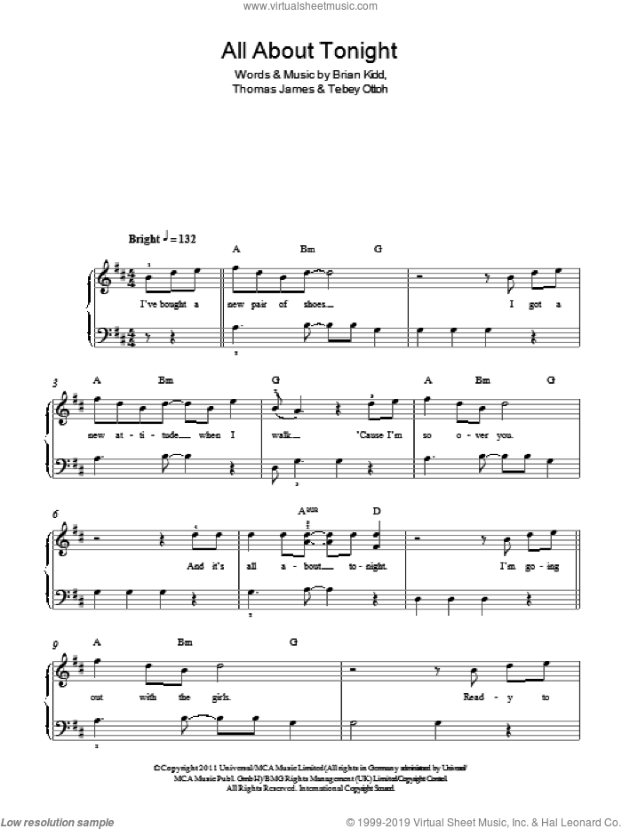 All About Tonight sheet music for piano solo by Pixie Lott, Brian Kidd, Tebey Ottoh and Thomas James, easy skill level