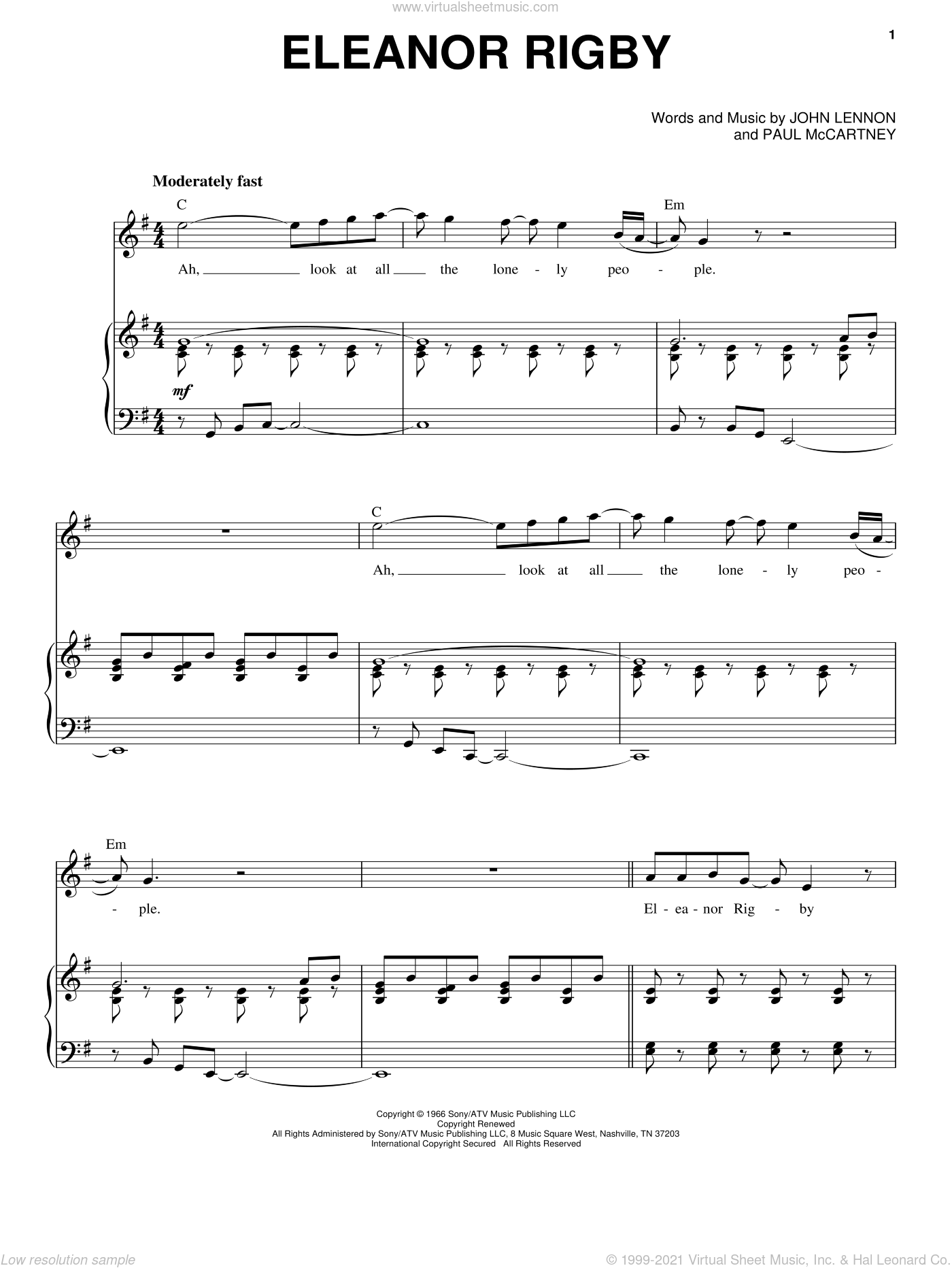 Eleanor Rigby sheet music for voice and piano by The Beatles, John Lennon and Paul McCartney, intermediate skill level