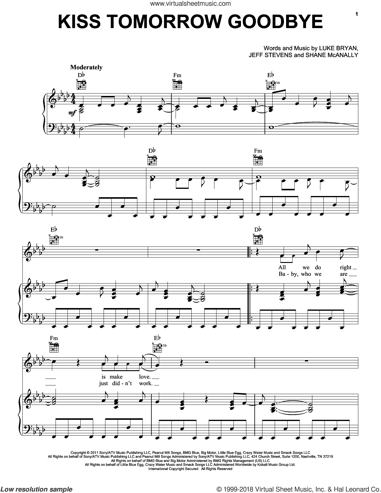 Kiss Tomorrow Goodbye sheet music for voice, piano or guitar by Luke Bryan and Jeff Stevens. Score Image Preview.