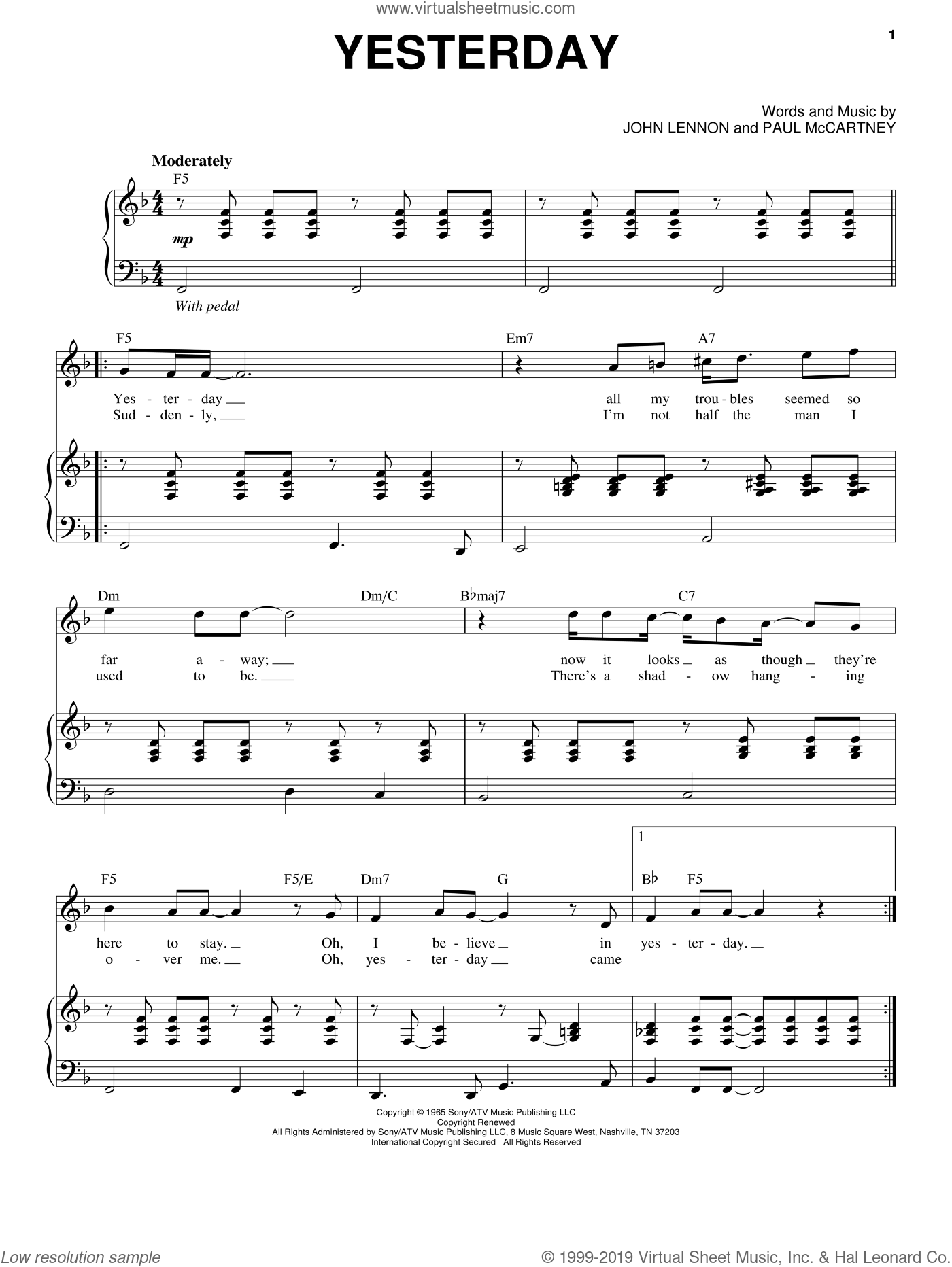 Yesterday sheet music for voice and piano by The Beatles, John Lennon and Paul McCartney, intermediate skill level