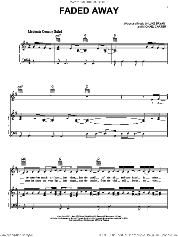 Faded Away sheet music for voice, piano or guitar by Luke Bryan and Michael Carter, intermediate skill level