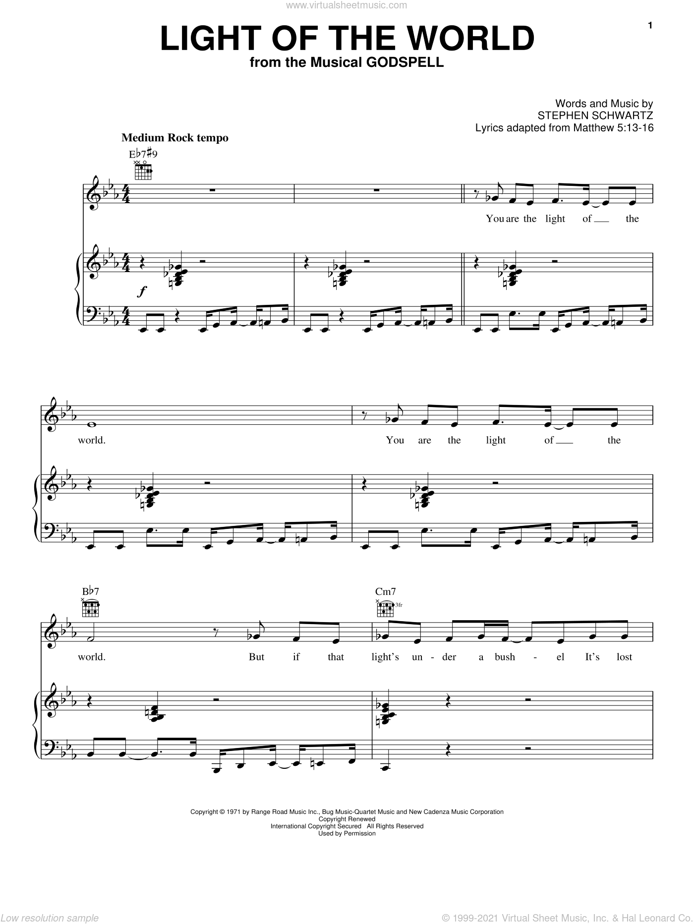 Light Of The World sheet music for voice, piano or guitar by Stephen Schwartz. Score Image Preview.