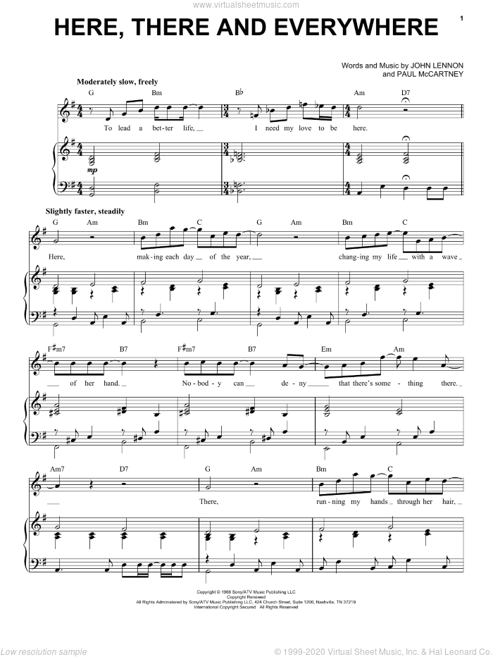 Here, There And Everywhere sheet music for voice and piano by The Beatles, John Lennon and Paul McCartney. Score Image Preview.