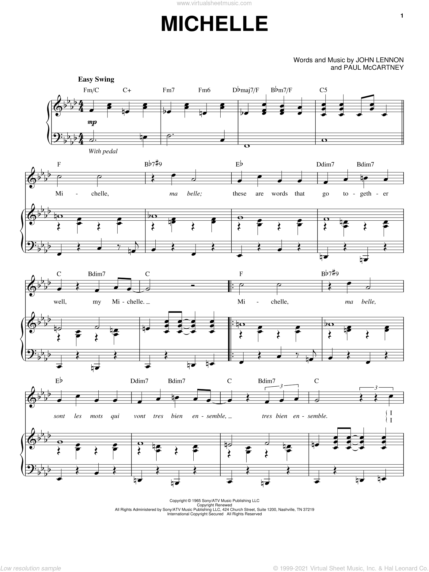 Michelle sheet music for voice and piano by The Beatles, John Lennon and Paul McCartney, intermediate skill level
