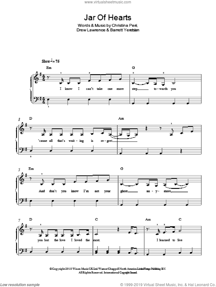Jar Of Hearts sheet music for piano solo by Christina Perri, Barrett Yeretsian and Drew Lawrence, easy skill level