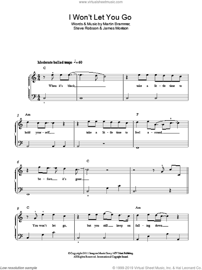 I Won't Let You Go sheet music for piano solo by James Morrison, Martin Brammer and Steve Robson, easy skill level