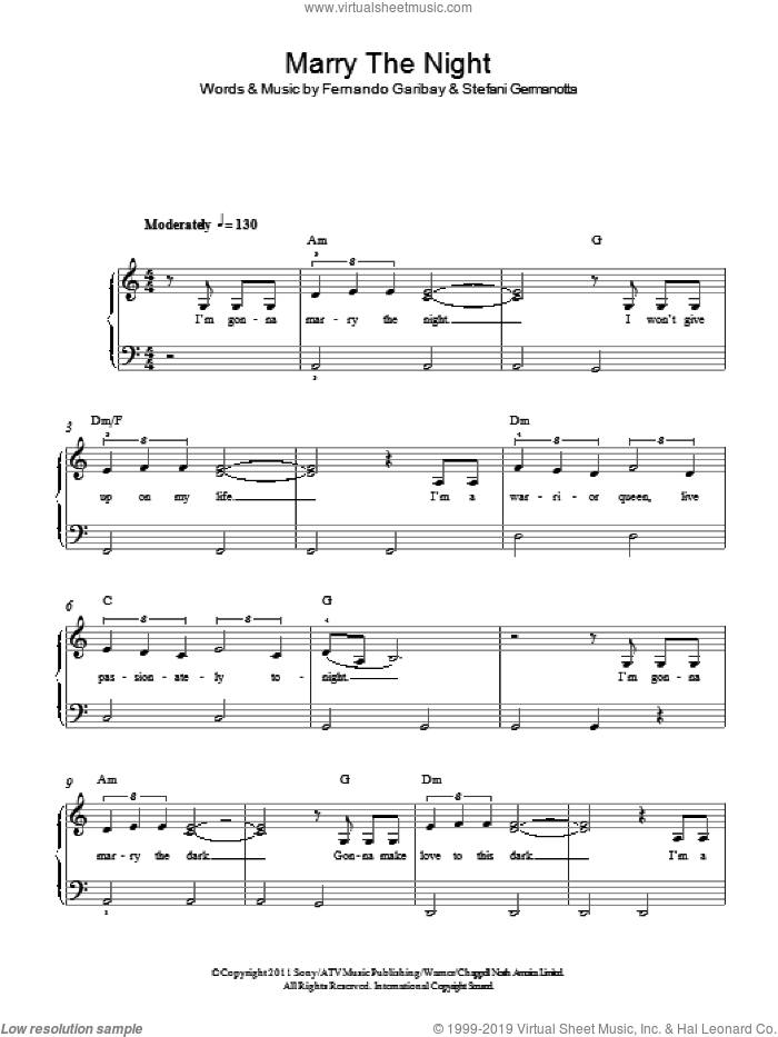 Marry The Night sheet music for piano solo by Lady Gaga and Fernando Garibay, easy skill level