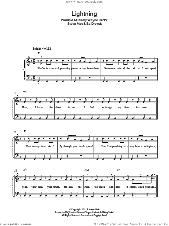Lightning sheet music for piano solo by The Wanted, Ed Drewett, Steve Mac and Wayne Hector, easy skill level