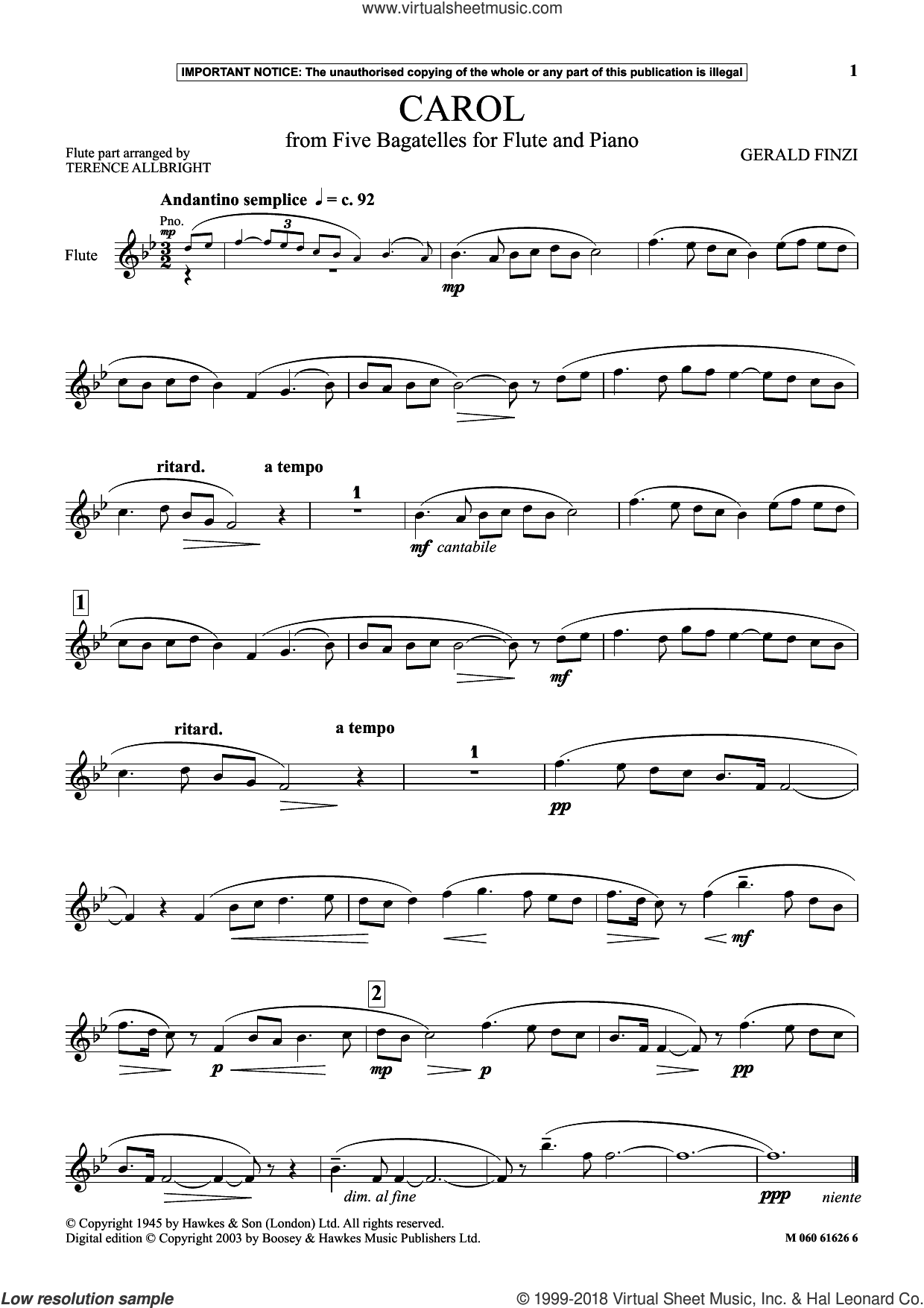 Carol (from Five Bagatelles For Flute And Piano) sheet music for flute solo by Gerald Finzi, classical score, intermediate skill level