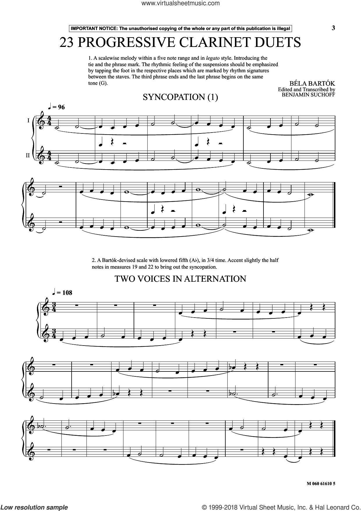 23 Progressive Clarinet Duets (from Mikrokosmos) sheet music for two clarinets (duets) by Bela Bartok, Bela Bartok and Benjamin Suchoff, classical score, intermediate skill level