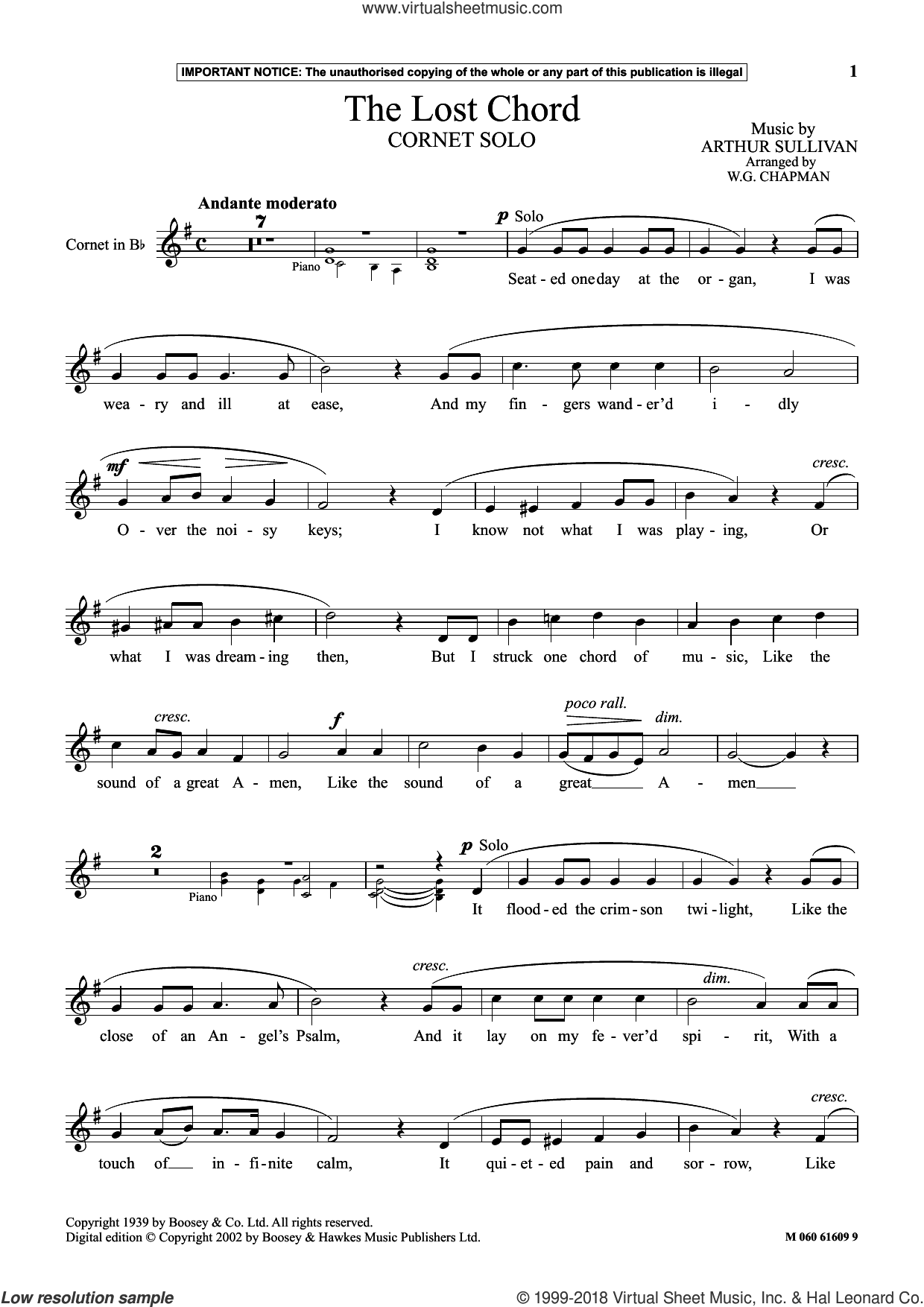 The Lost Chord sheet music for cornet solo by Arthur Sullivan and W.G. Chapman, classical score, intermediate skill level