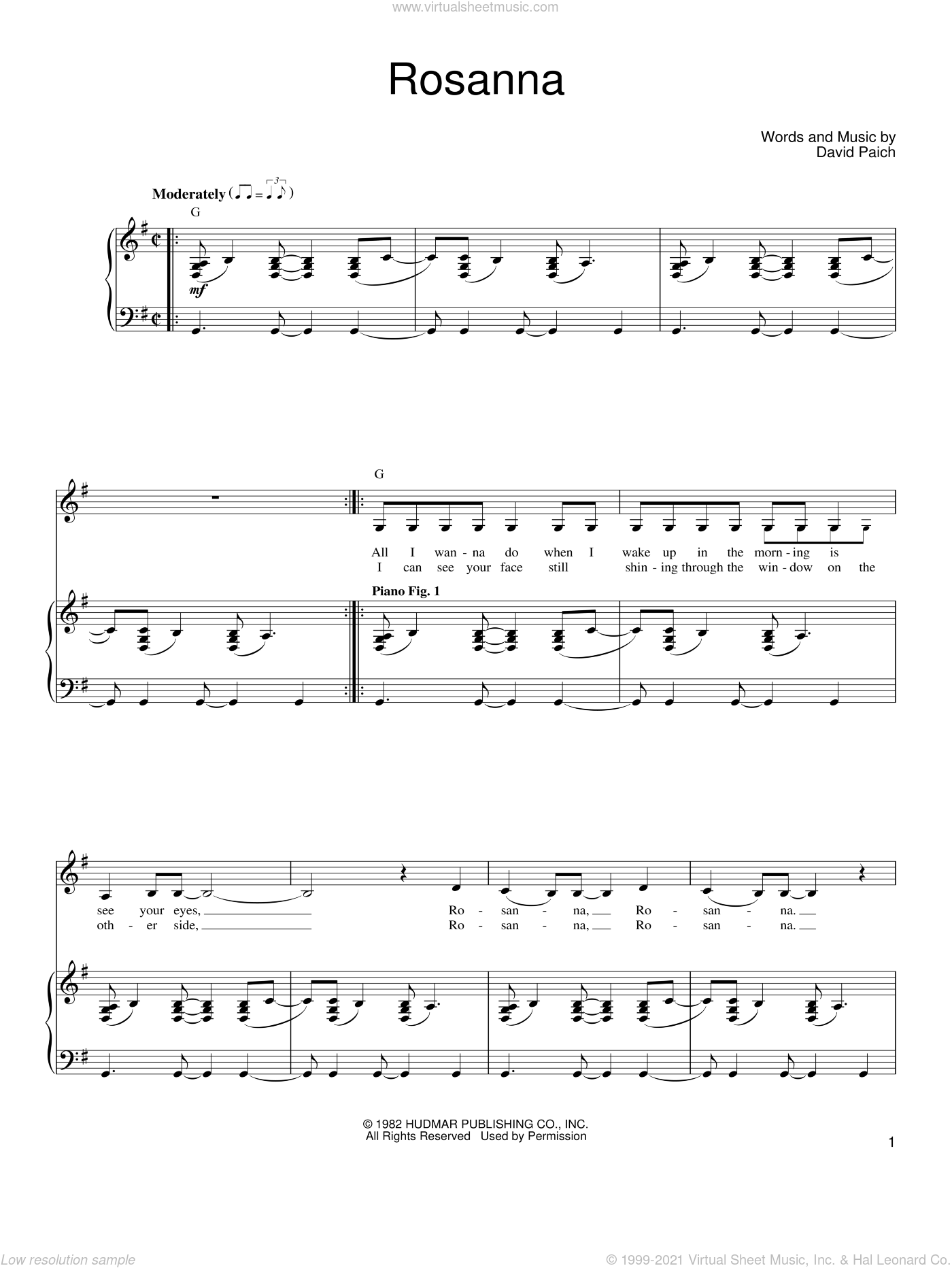 Rosanna sheet music for voice, piano or guitar by Toto and David Paich, intermediate skill level