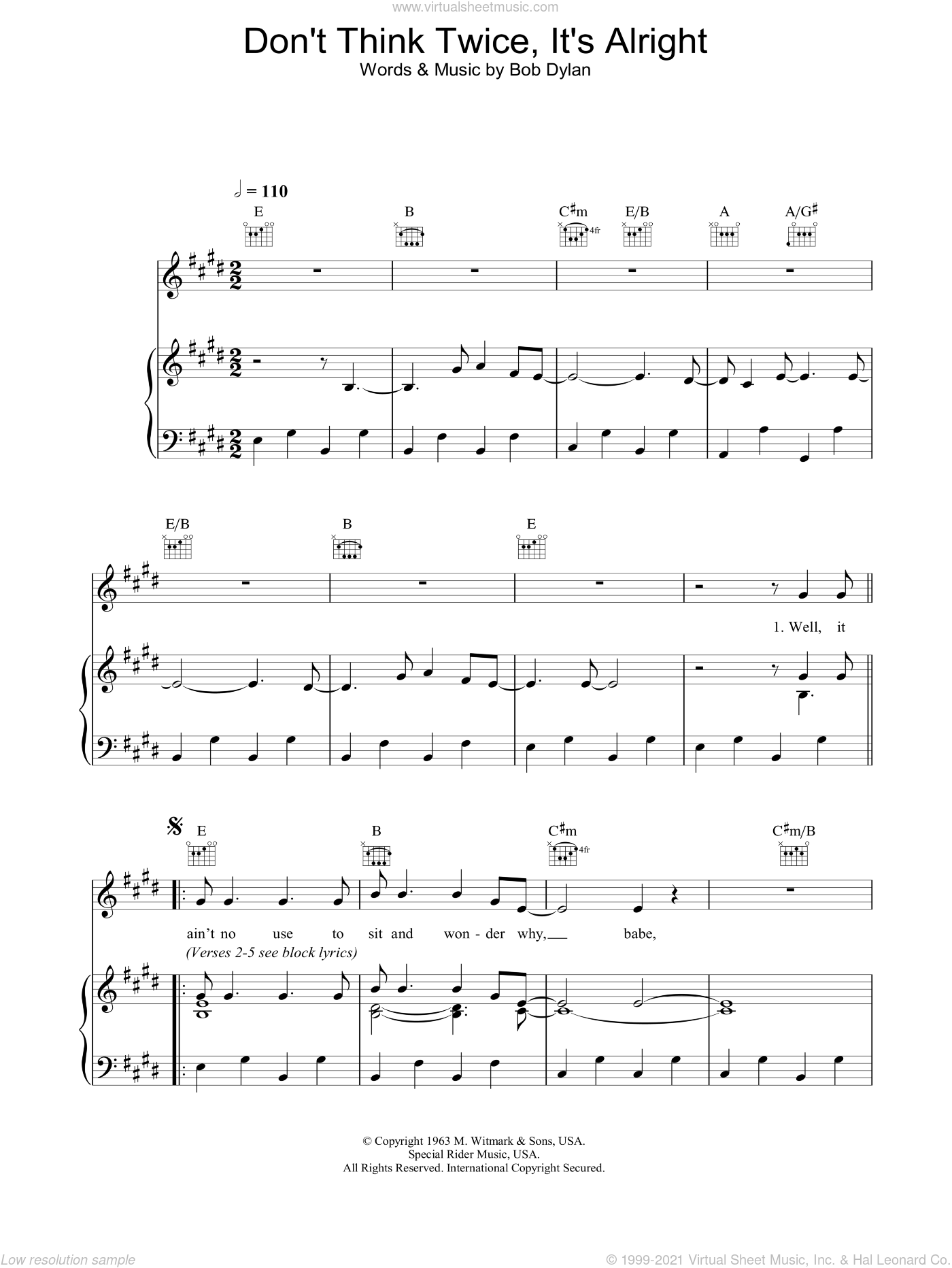 Dylan Dont Think Twice Its Alright Sheet Music For Voice Piano